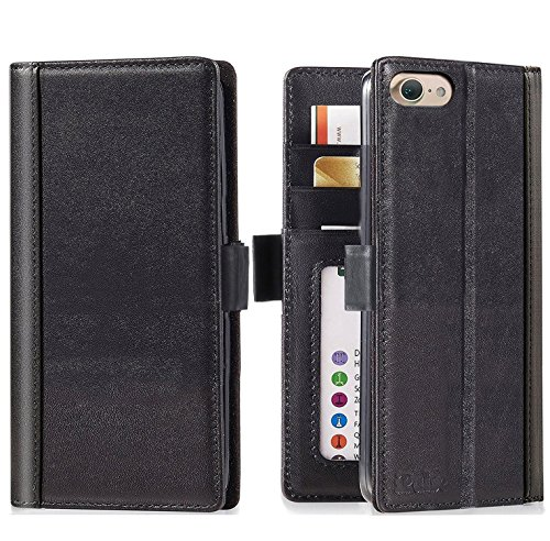 iPhone 8 / iPhone 7 Wallet Case --iPulse Genuine Italian Full Grain Leather Handmade Flip Wallet Case For iPhone 7 and iPhone 8 - [Vintage Book Style ] [Built-in Stand] [Card Slots Holder] - Black (Flop Holder Card Flip)