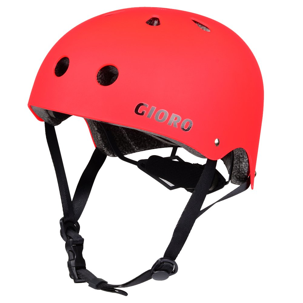 GIORO Skateboard Helmet Impact Resistance Safe Helmet with Ventilation Multi Sport for BMX Bike Skate& Scooter,Dual Certified CPSC Adult &Kids Adjustable Dial Helmet-Multiple Colors&Sizes (Red, L)