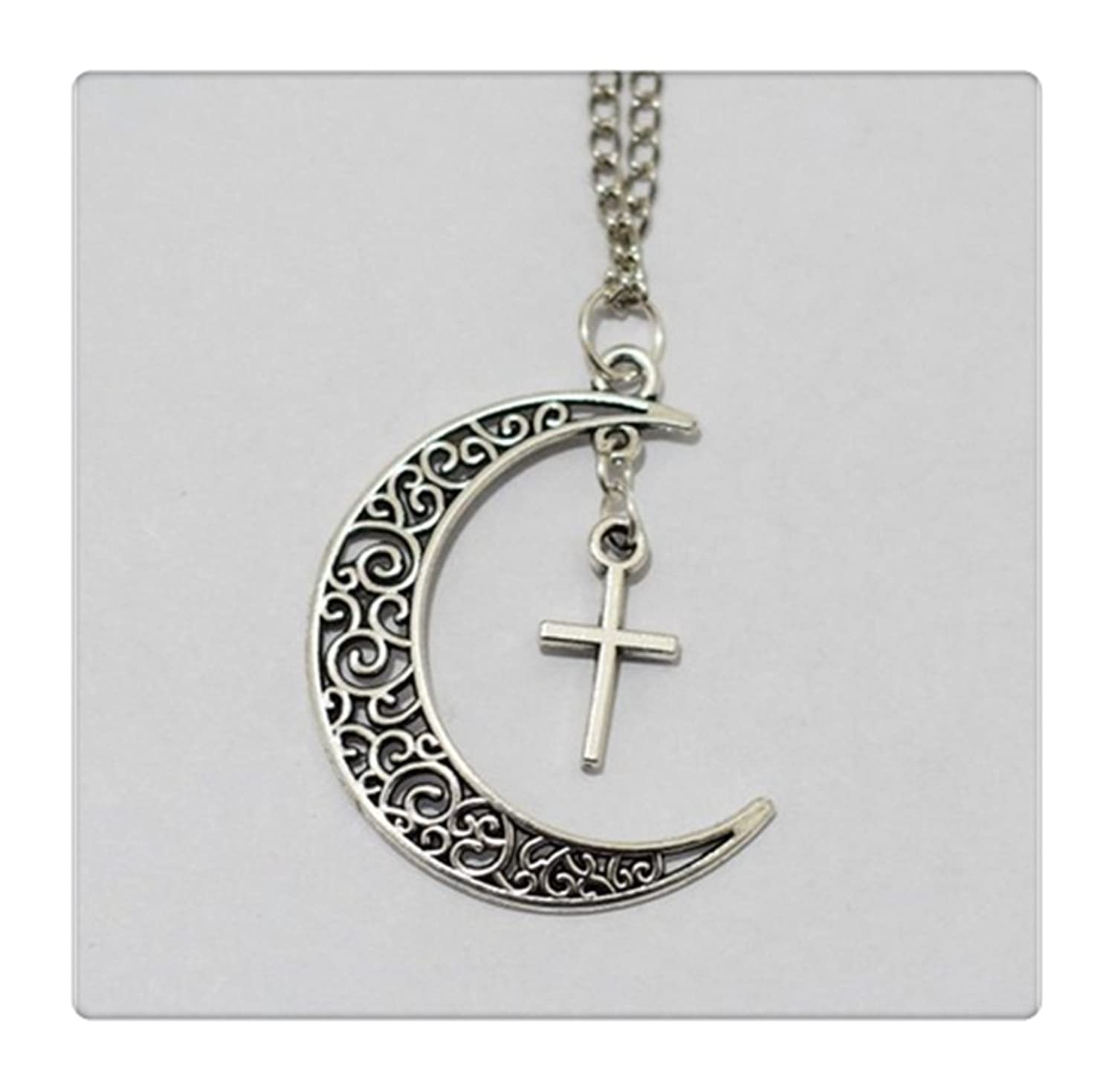 Amazon moon and cross necklace crescent moon girl symbol amazon moon and cross necklace crescent moon girl symbol necklace cross moon necklace jewelry necklace jewelry buycottarizona Image collections
