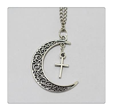 Amazon Moon And Cross Necklace Crescent Moon Girl Symbol