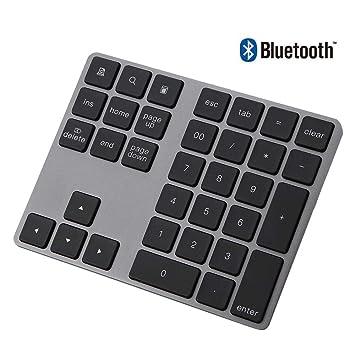 Vbestlife Mini Teclado Numérico Inalámbrico Numpad Bluetooth con 34 Teclas para Apple PC Soporta Sistema Windows, iOS, Android Negro