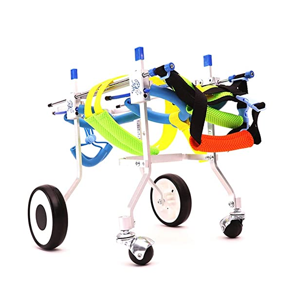 Jlxl Dog Wheelchair, Limbs Injured Support Rehabilitation Disability Paralysis Travel for Car Four Rounds Before and After (Size : XXXS) (Tamaño: XXXS)