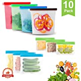 GEHARTY Reusable Silicone Food Storage Bags 10 Pack (Set of 4x1000ml,3 Snack Bags,3 Lunch Bags)Sealing Sandwich Food…