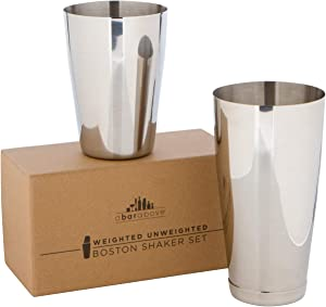 Premium-Cocktail-Shaker-Set:-Two-Piece-Pro-Boston-Shaker-Set.-Unweighted-18oz-&-Weighted-28oz-Martini-Drink-Shaker-made-from-Stainless-Steel-304