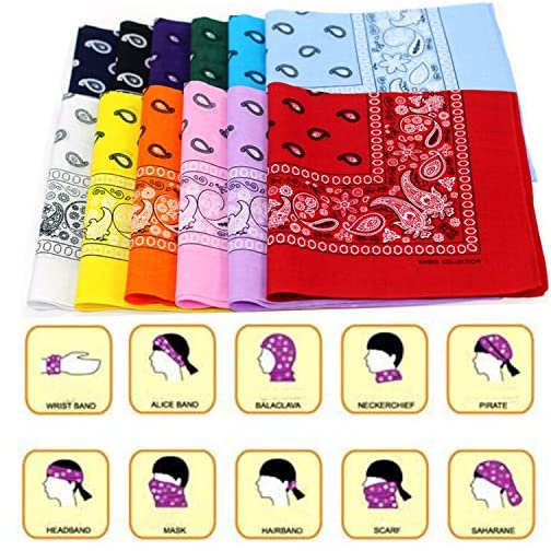 BSLINO Bandanas 24pcs 22 X 22 Inch 100% Cotton Bandana Novelty Double Sided Print Paisley Cowboy Bandana Party Favor… |
