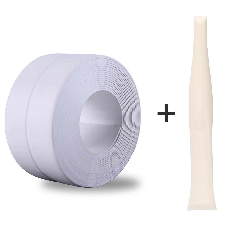 Silicone Caulk Strip PVC Strong Self Adhesive Tub Sink Wall Sealing Caulk Tape 1 1 x11 White