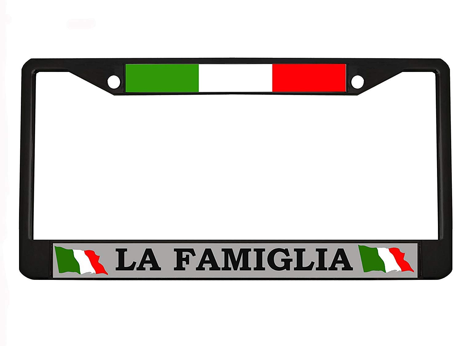 LA FAMIGLIA Personalized Chrome Black License Plate Frames Metal Auto Stainless Car Tag Holder Plate Frame for Womens US(Chrome/Black) B.Fighting