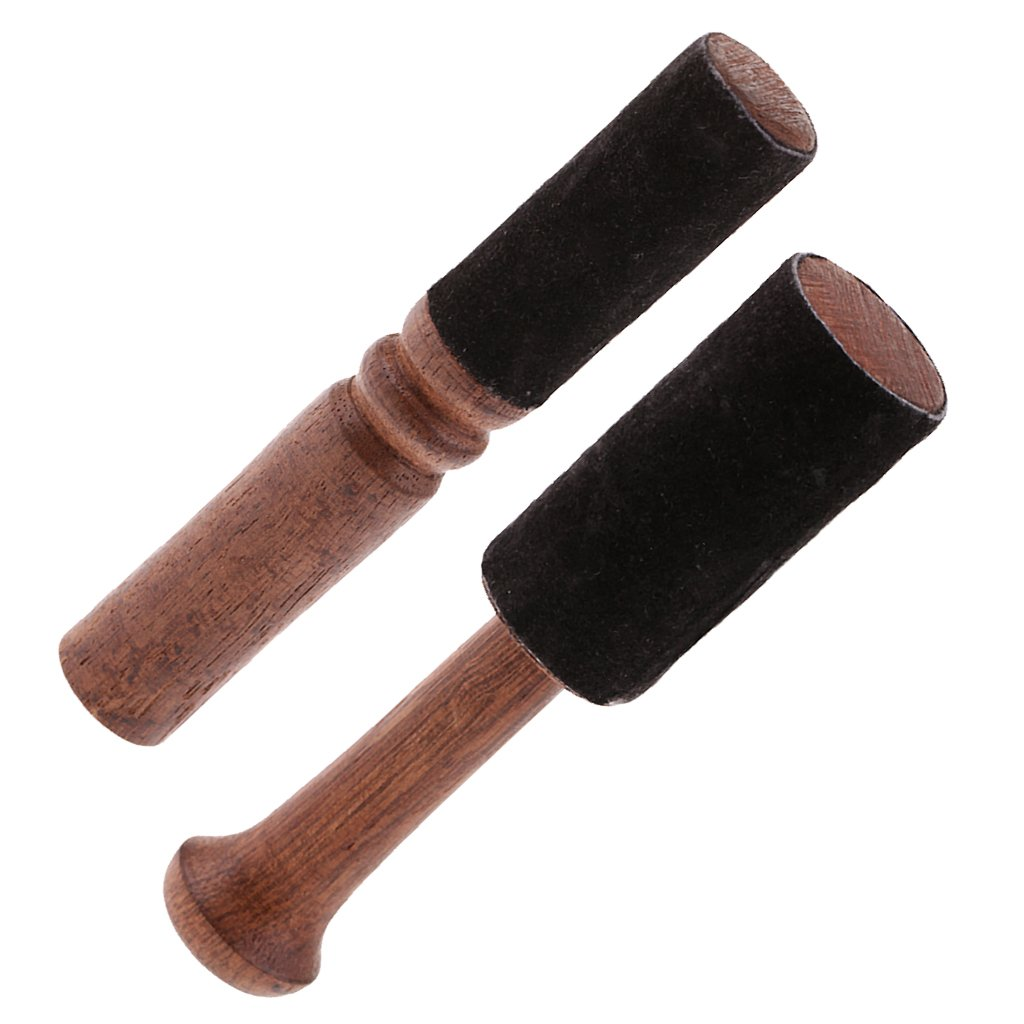 Homyl 2PCS Tibetan Buddhism Singing Bowl Mallet Wood Striker w/Leather Head for Relax Yoga Art Crafts 12.5/12.7cm