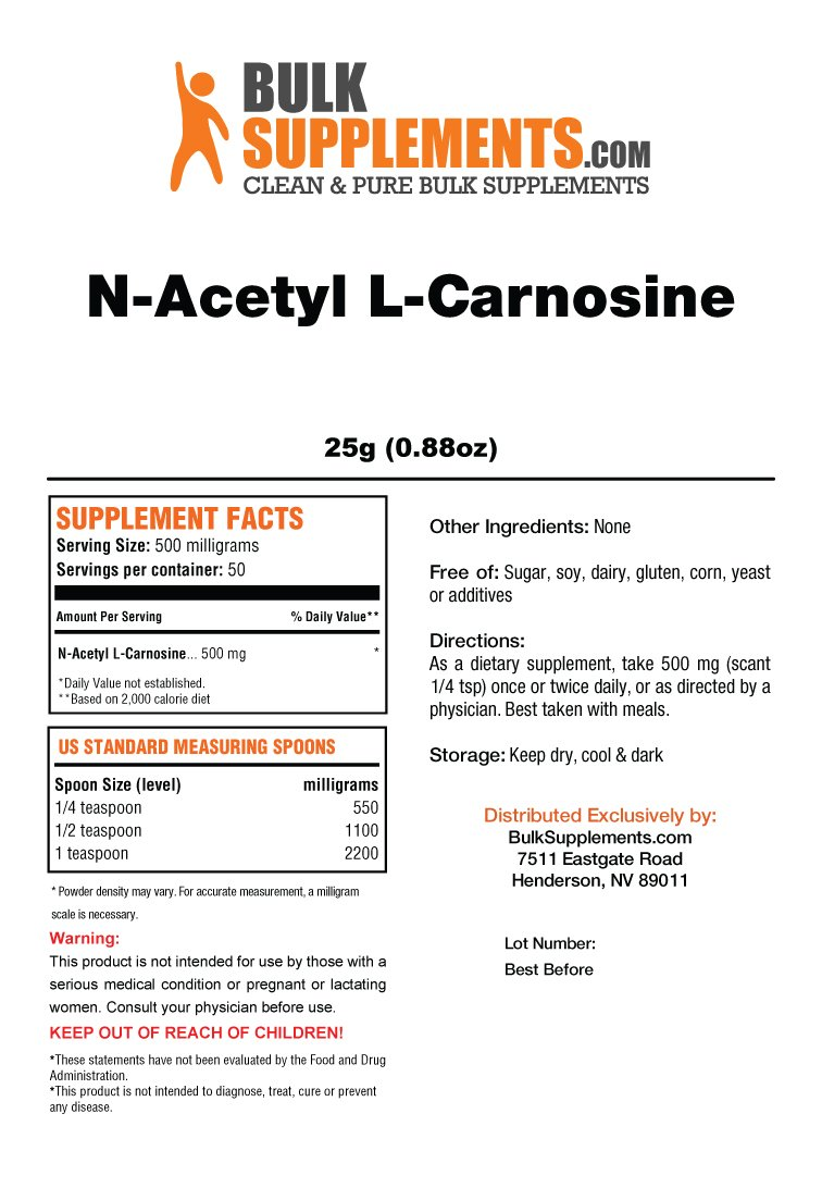 Bulksupplements N-Acetyl L-Carnosine Powder (25 Grams) by BulkSupplements (Image #2)
