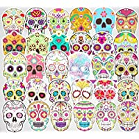 Sugar Skull Stickers 50pcs Laptop Cool Skull Decals for Laptop,Cars,Motorcycle,Bicycle,Luggage,Graffiti,Skateboard Stickers Hippie Decals Waterproof for Kids Adult Halloween Wall Decor Stickers
