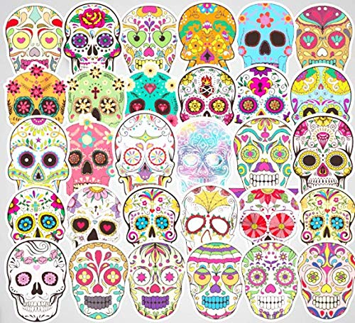 Sugar Skull Stickers 50pcs Laptop Cool Skull Decals for Laptop,Cars,Motorcycle,Bicycle,Luggage,Graffiti,Skateboard Stickers Hippie Decals Waterproof for Kids Adult Halloween Wall Decor Stickers]()