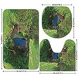 3 Piece Bathroom Mat Set,Hobbits,Fantasy-Hobbit-Land-House-in-Magical-Overhill-Woods-Movie-Scene-New-Zealand,Green-Brown-Blue.jpg,Bath Mat,Bathroom Carpet Rug,Non-Slip