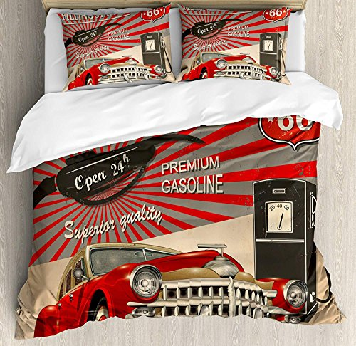 Cars 4 Piece Bedding Set Twin Size, Poster Style Image Gasoline Station Commercial Kitschy Element Route 66 Print, Duvet Cover Set Quilt Bedspread for Childrens/Kids/Teens/Adults, Vermilion Beige by Anzona