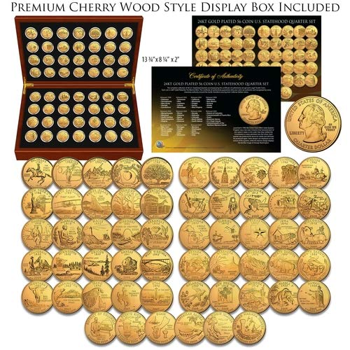 1999-2009 Complete 24K GOLD Clad State Quarters 56-Coin Set CherryWood Style Box ()