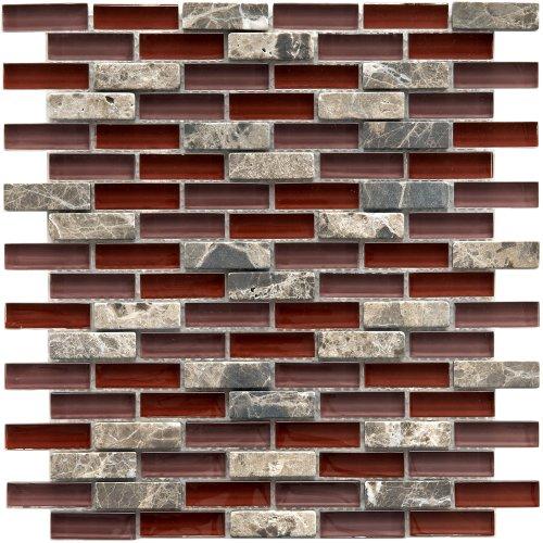 [Sierra Subway Bordeaux 11 3/4 x 11 3/4 Inch Glass and Stone Mosaic Wall Tile (10 Pcs/9.6 Sq. Ft. Per Case, $1 Standard Shipping)] (Bordeaux Stone Backsplash)