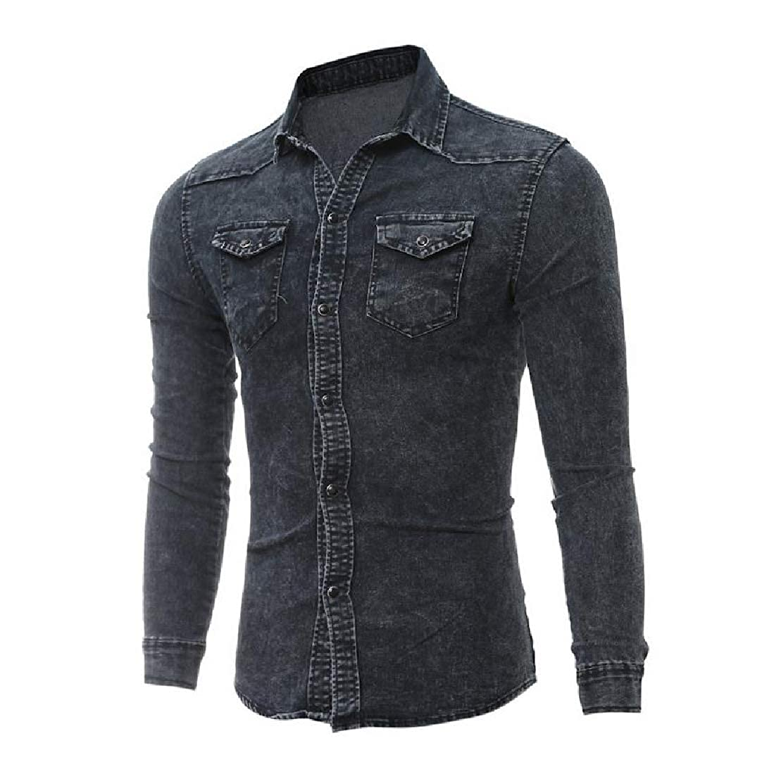 Winwinus Mens Pockets Denim Relaxed Long-Sleeve Button Down Shirts