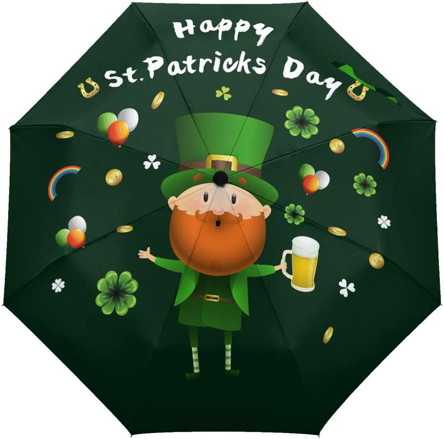 Saint Patrick Day Clover Pattern Umbrella Compact Rain/&Wind Repellent Umbrellas Sun Protection With Anti UV Coating Travel Auto Folding Umbrella