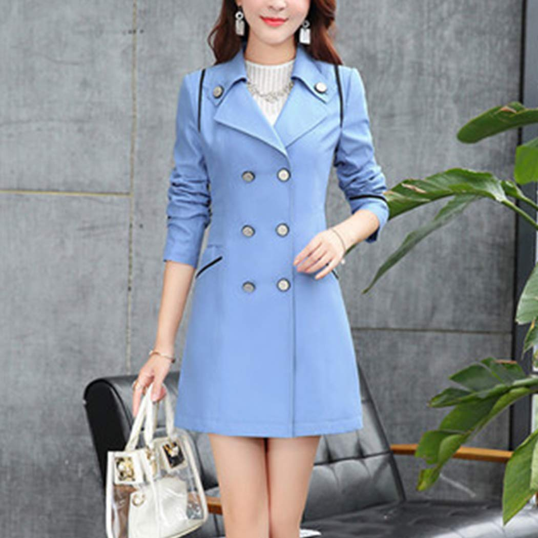 Amazon.com: Raylans Womens Spring Solid Double Breasted Dress-Coats Slim Mid-Long Trench Coat: Clothing