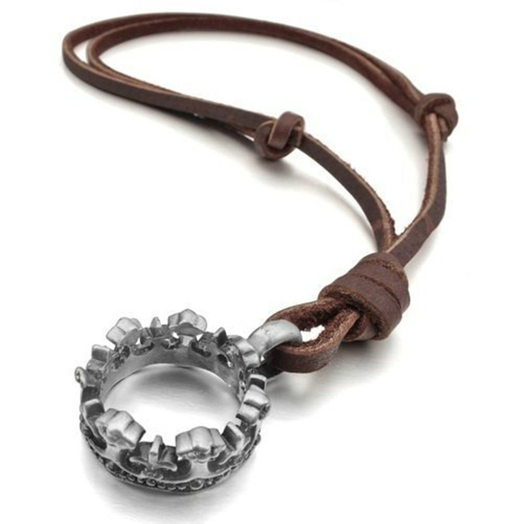 KnSam Men Adjustable Leather Cord Alloy Crown Pendant Necklace Silver 2.7x2.7MM Novelty Necklace