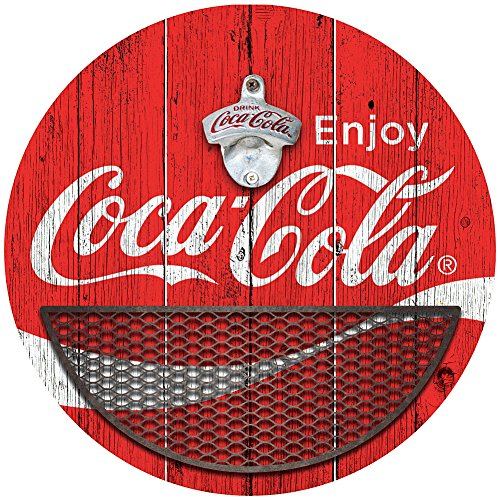 Coca Cola Round Bottle Opener with Cap Catcher – 14″ Dia Sign & Metal Basket For Sale