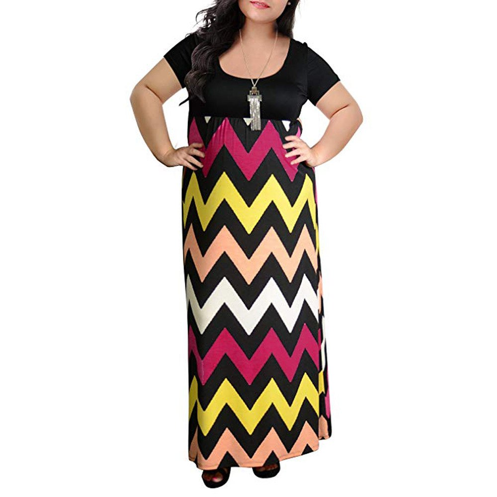 Hessimy Womens Chevron Print Summer Short Sleeve Plus Size Casual Maxi Dress