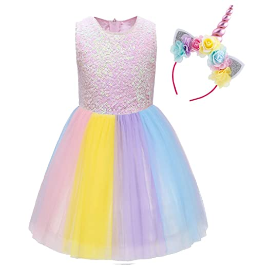 2e52624149 Amazon.com  Girls Rainbow Unicorn Costume Sequin Pageant Princess Party  Dress up Cosplay with Headband Birthday Outfit Set for Kids  Clothing