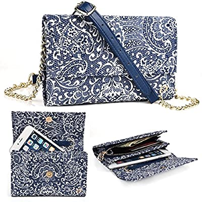 Midnight Blue Paisley Weekender Crossbody Bag For Microsoft Lumia 950 5.2, 950 XL 5.7, Lumia 640, Lumia 550, Lumia 540, Lumia 535, Nokia Lumia 830 | Cases and Covers by EnvyDeal