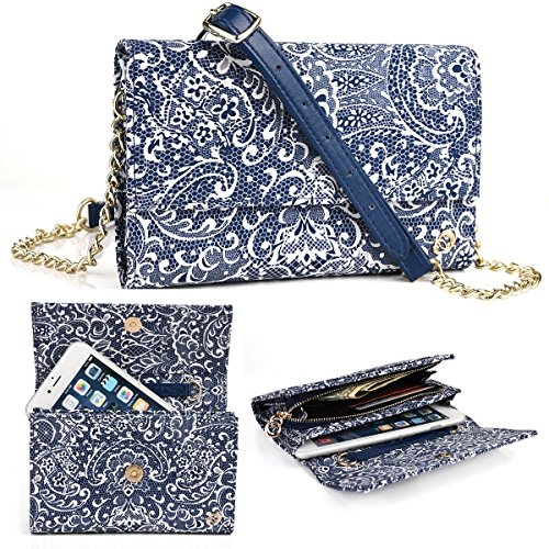 EnvyDeal Crossbody Womens Wallet Motorola Moto G6 Play, E5 Play, Z Droid, Moto Z Force Droid 5.5, Midnight Blue Paisley Weekender