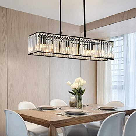 Moooni Vintage Rectangular Crystal Chandelier Industrial Rectangle Pendant Light Fixture For Kitchen Island Dining Room Black L 33 5 X W 8 7 X H8 7 Amazon Com