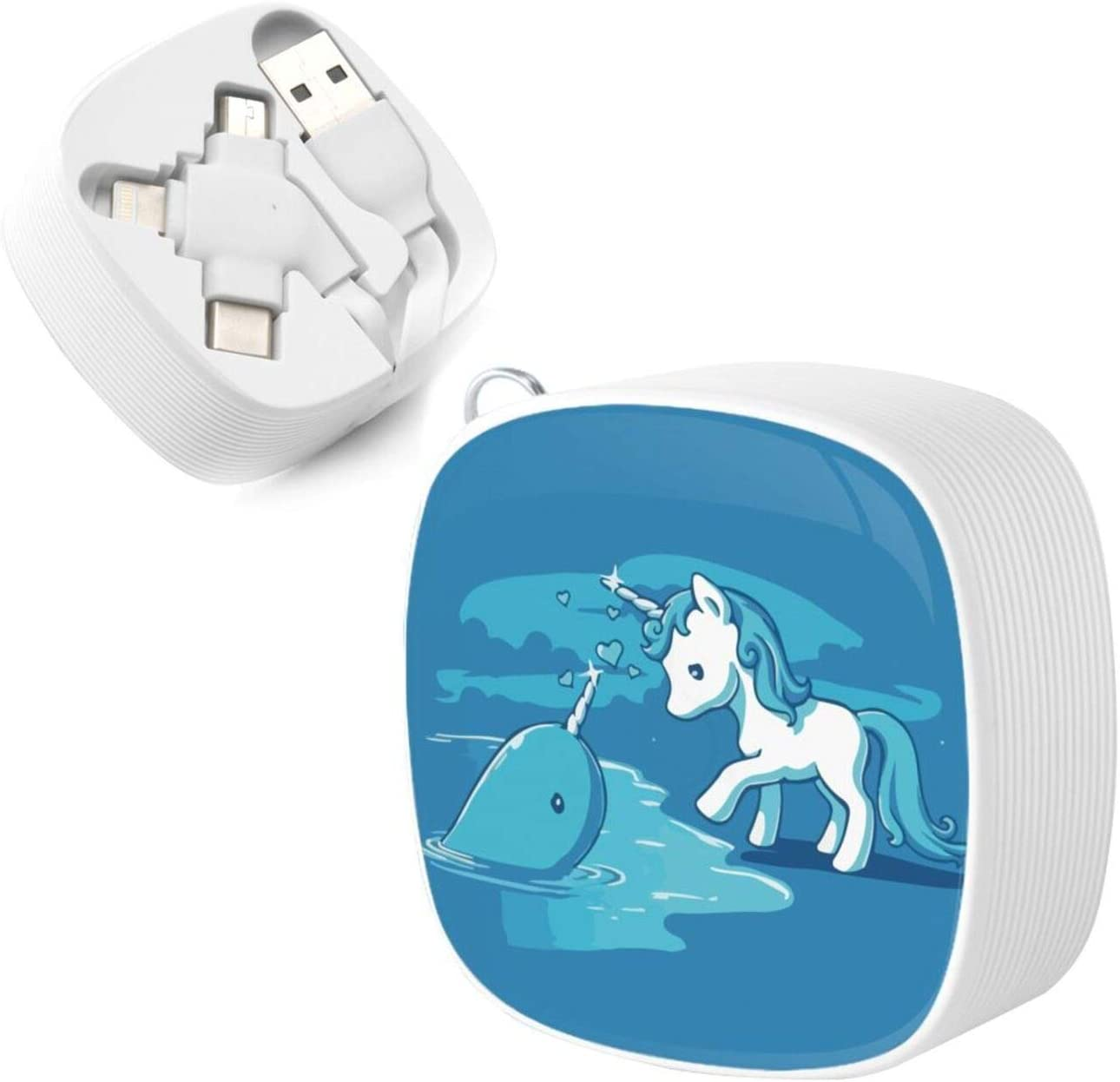 Narwal Date with Unicornthe Square Three-in-One USB Cable is A Universal Interface Charging Cable Suitable for Various Mobile Phones and Tablets
