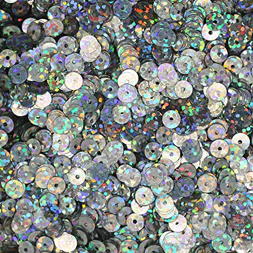 Thai Decorated 6mm Cup Sequin Facet Round Paillettes ~ Silver Hologram Metallic ~ Loose Sequins for Embroidery, Bridal, Applique, Arts, Crafts, and Embellishment. (Hologram Cup)