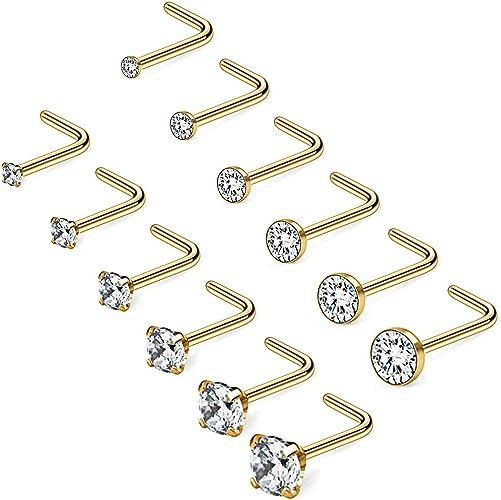 Gold Titanium Clear CZ Crystal Nose Studs Cork Screw Post Ring 18 gauge 18g