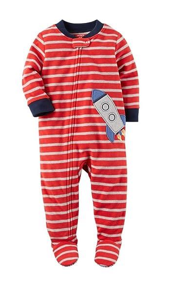 e3b2f547f Amazon.com  Carter s Boy Striped Rocket Ship Zip Up Footed Pajama ...