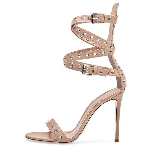 L@YC Sandalias De Las Mujeres Peep Toe Hebilla Tacones Altos/Gran TamañO/Fiesta De GraduacióN/Vestido: Amazon.es: Zapatos y complementos