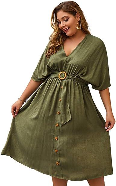 JLTPH Vestido de Camisa para Mujer Color Liso Vestido de ...