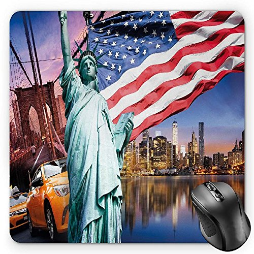 BGLKCS United States Mouse Pad by, USA Touristic Concept Collection Statue of Liberty NYC Cityscape Flag Cars, Standard Size Rectangle Non-Slip Rubber Mousepad, ()