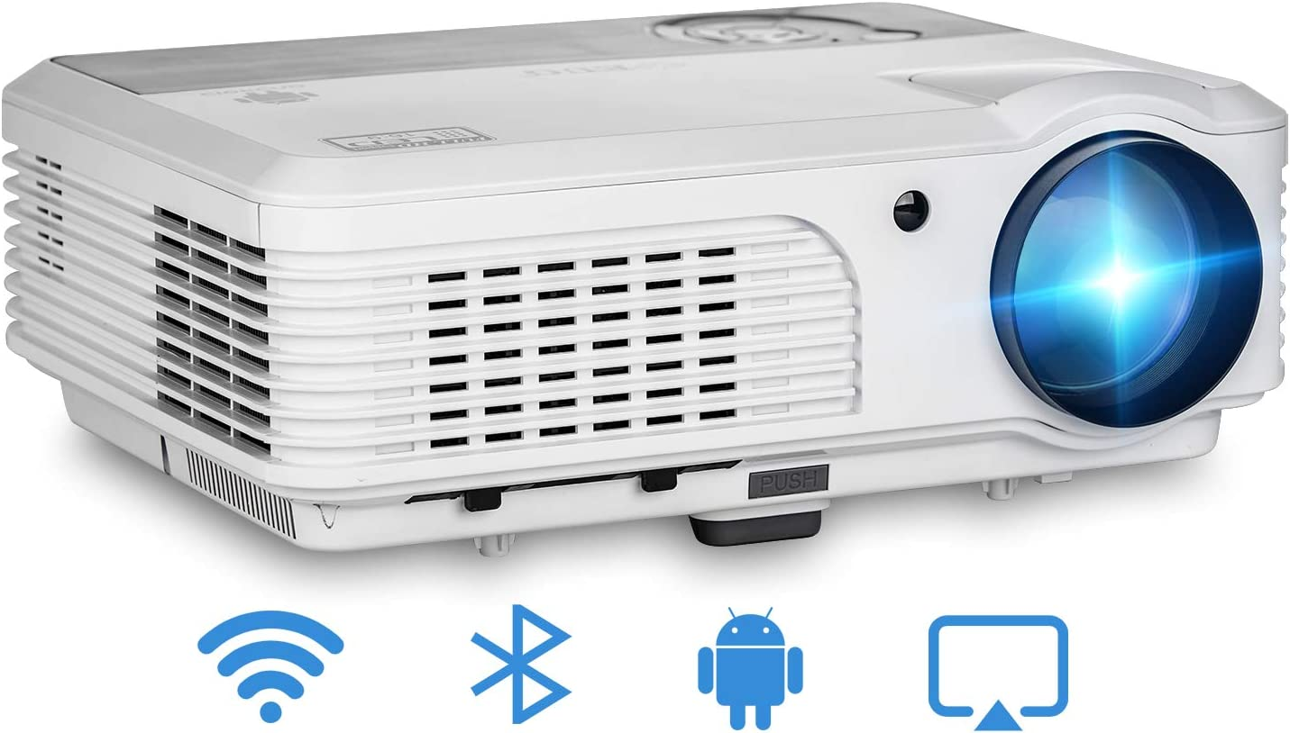 WiFi Bluetooth Wireless Projector, 4400 Lumen Support 1080P Full HD LED Home Theater Airplay Projector, Compatible with HDMI, USB, AV, Smartphone, Laptop, TV Stick, PS4 for Video Games Entertainment