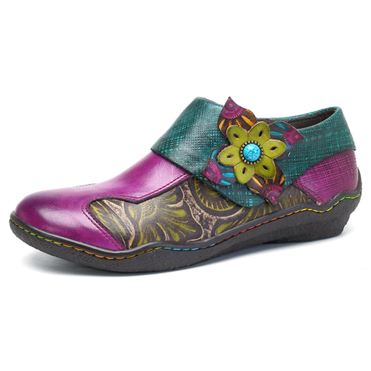 Socofy Oxford Leather Shoes,Women's Handmade Printing Splicing Plant Pattern Hook Loop Flat Vintage Shoes Claret 8 B(M) US
