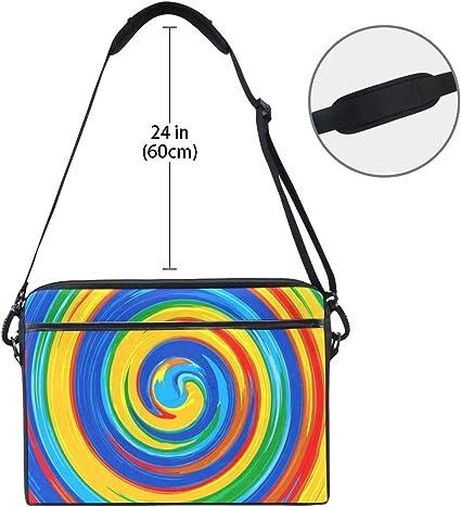 Art Swirl Rainbow Splash Color 14-14.5 inch Briefcase Messenger Notebook Computer Bag with Shoulder Strap Handle Laptop Sleeve Case