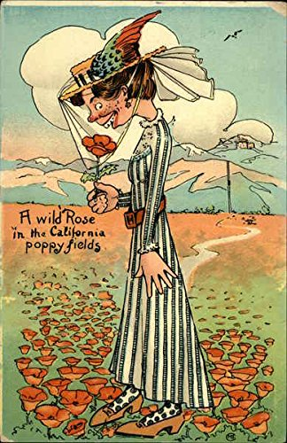 Homely Woman - A Wild Rose in the California Poppy Fields - Comical Original Vintage -