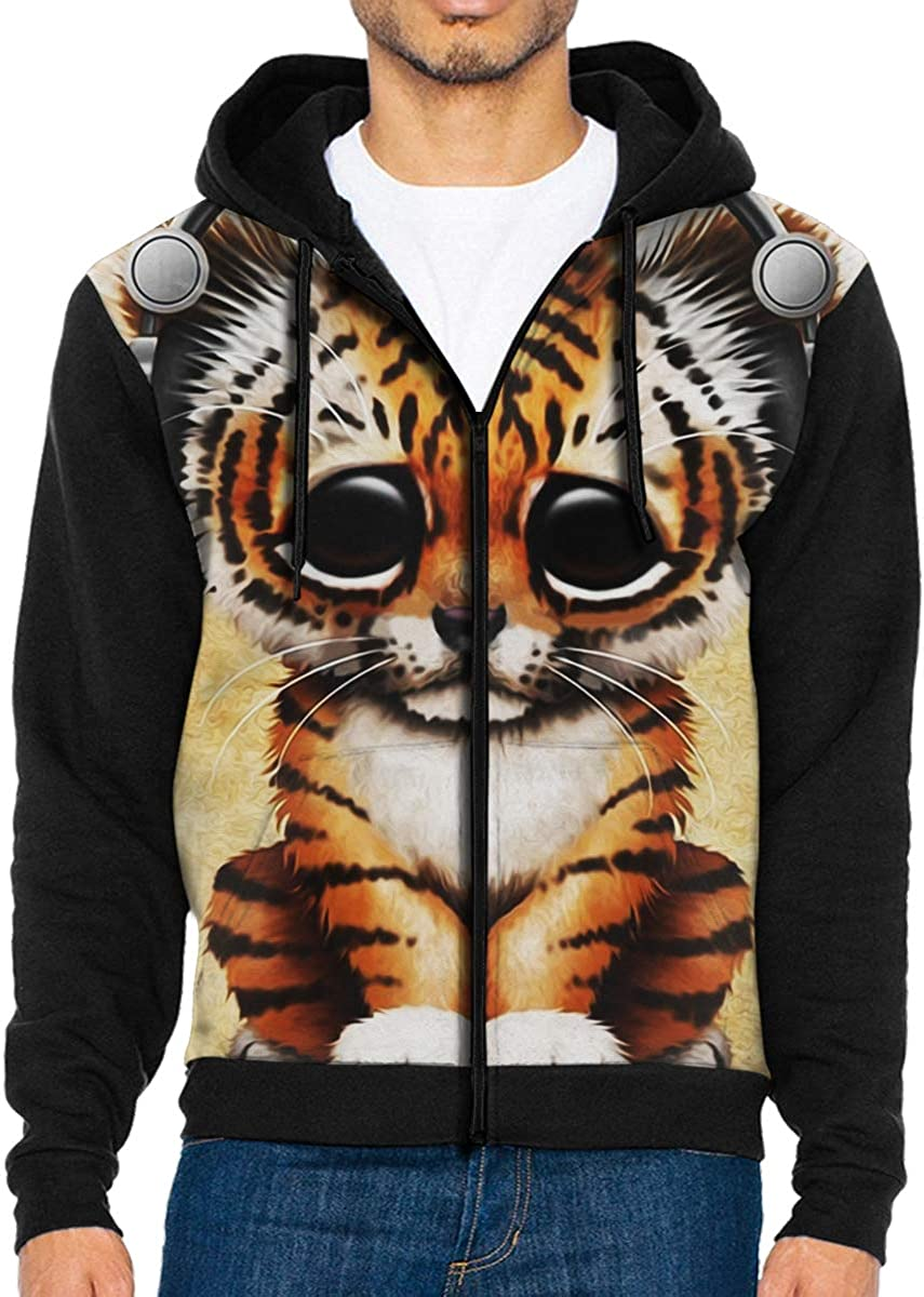 Mens Pullover Hood Little Tiger Listening to Songs Zip Hoodies Hooded Casual Jackets Coats