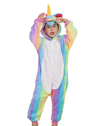 95b59f64fd3 Amazon.com  Kids Unisex Animal Onesies Costumes Halloween Carnival Unicorn  One Piece Pajamas  Clothing