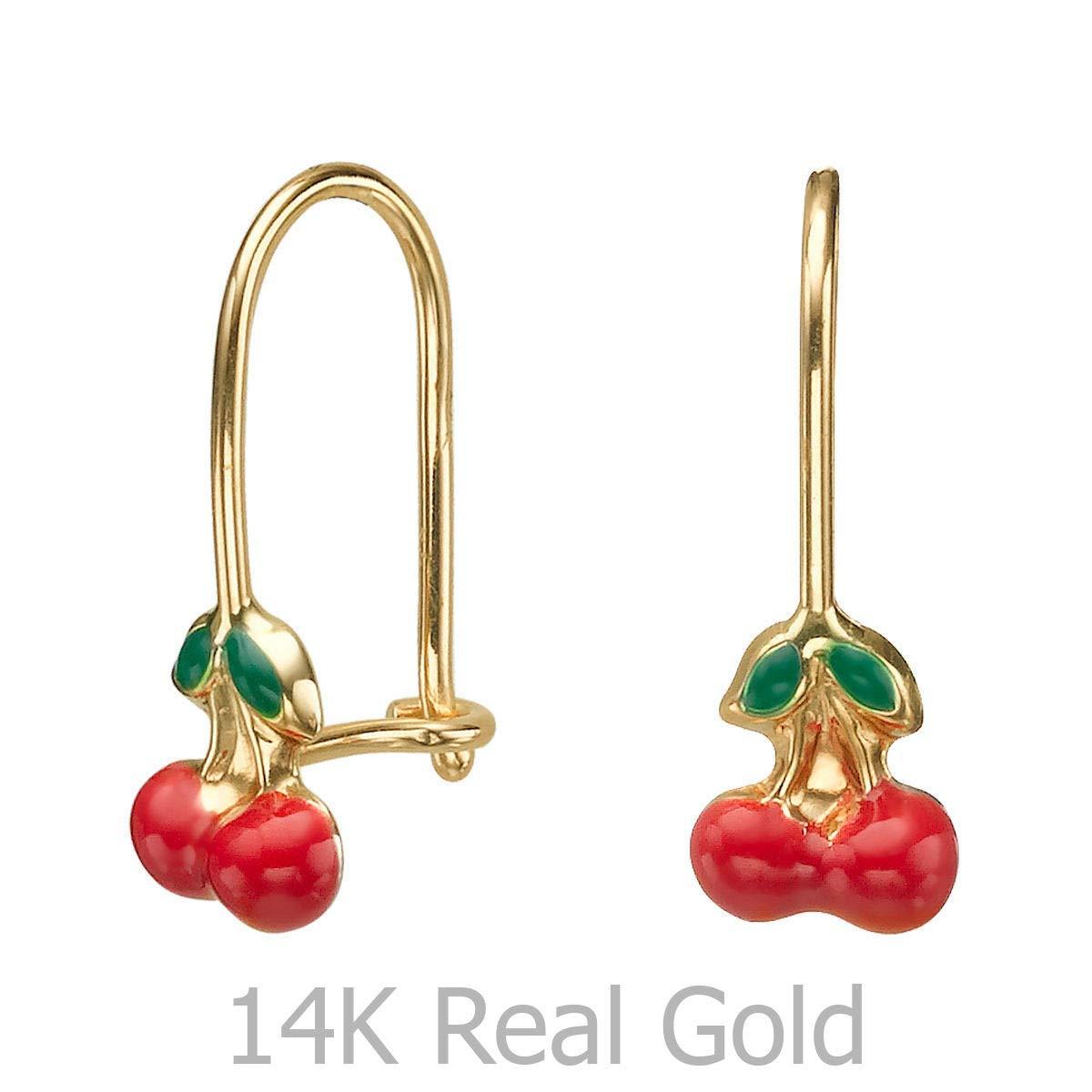 14K Solid Yellow Gold Eliptical Hoop Earrings Cherry Drop Children Kids Child Baby Gift Girls Teen