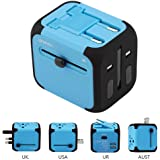 Travel Adapter SAG Dual USB All-in-one Worldwide Travel Chargers Adapters for US EU UK AU About 152 Countries Wall Universal Power Plug Adapter Charger with Dual USB and Safety Fuse (Blue)