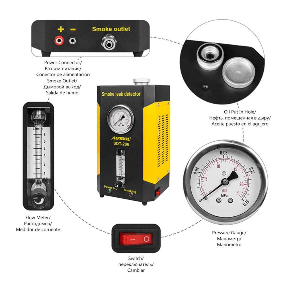 Amazon.com: AUTOOL Smoke Cone Leak Detector Exhaust Intake Boot Adapter Diagnostics for Automotive EVAP Leak Locator Tester: Automotive
