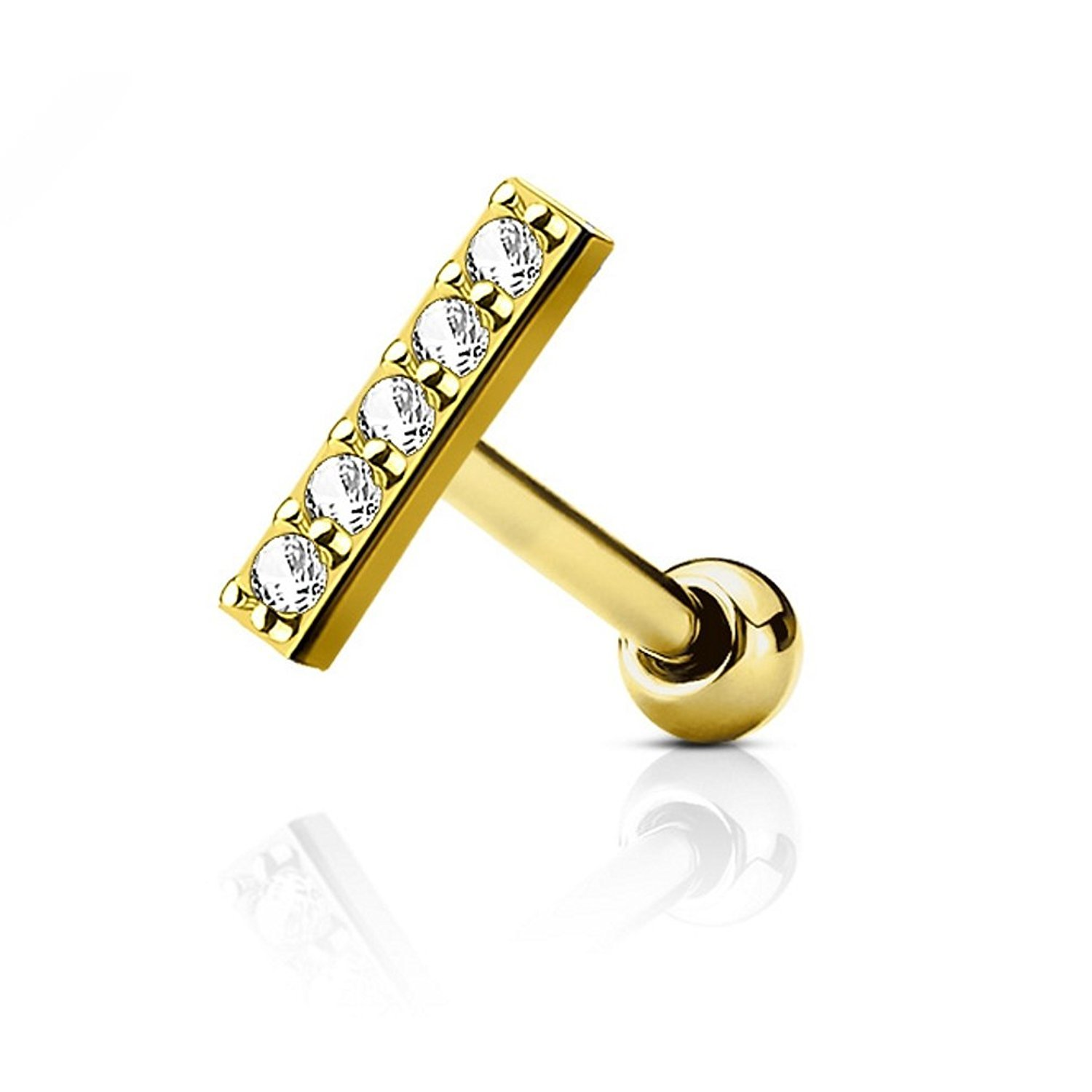 Sold Individually Inspiration Dezigns 16G CZ Lined 9mm Long Bar Cartilage//Tragus Barbell Stud