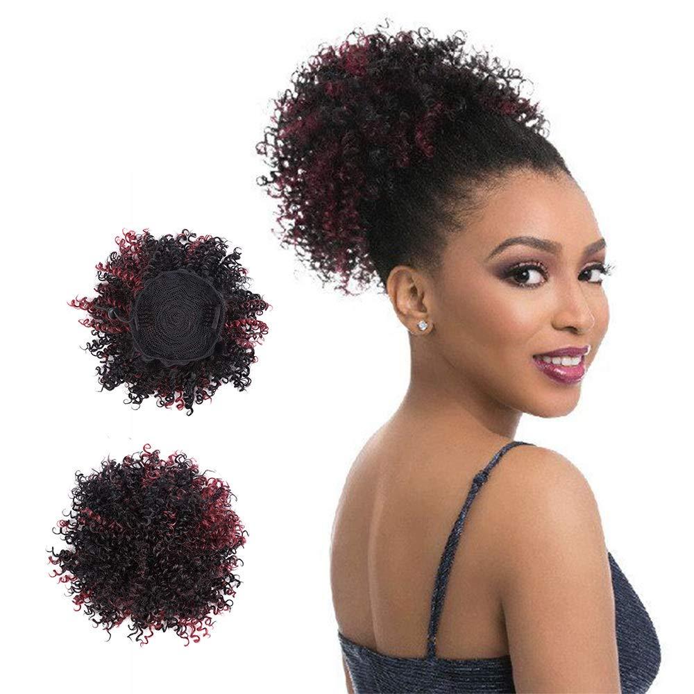 Women Afro Kinky Curly Hair Bun Extension Donut Chignon Hair Short Ponytail Updo wig Hairpiece Bun