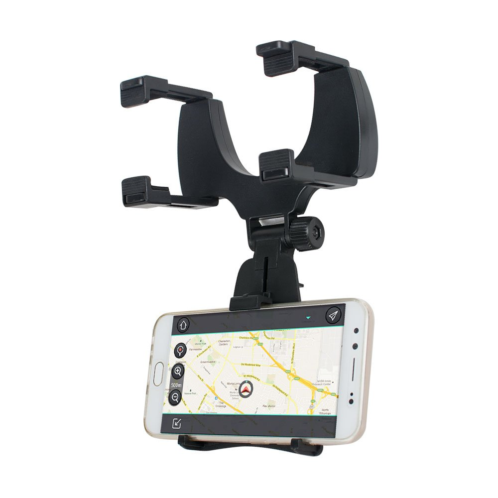 Car Phone Holder, ixaer Rearview Mirror Mount Stand Holder with One-Touch Design Dashboard for iPhone 7/7Plus/6s/6Plus/5S, Galaxy S5/S6/S7/S8, Google Nexus, LG, Huawei and More ( Black )