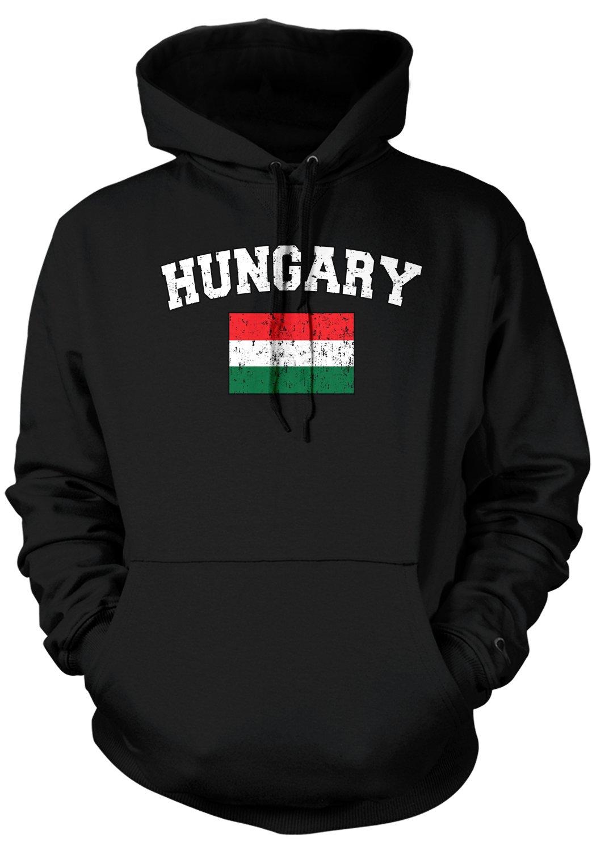 Amdesco Men's Hungarian Flag, Love, Home, Flag Of Hungary Hooded Sweatshirt, Black Medium by Amdesco (Image #1)