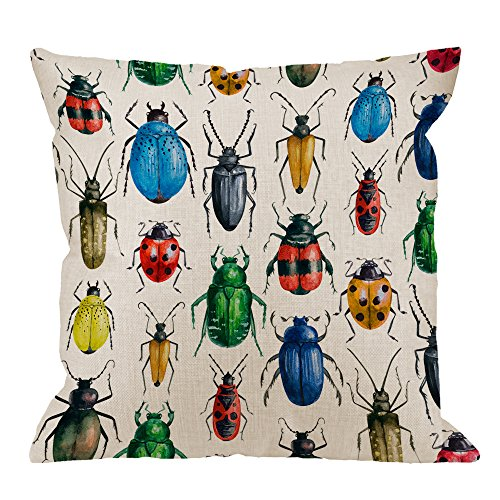 HGOD DESIGNS Beetles Pillow Cover,Decorative Throw Pillow Beetle Watercolor Hexapod Bug Pillow cases Cotton Linen Outdoor Indoor Square Cushion Covers For Home Sofa couch 18x18 inch - Pillow Beetle